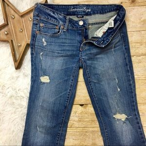 American Eagle Distressed Straight Leg Jean